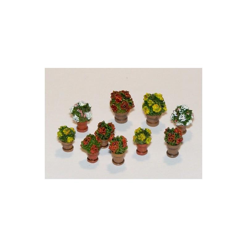 Kit 10 macetas con flores - Para Maquetar - Miniatura 1:35 - Plus Model 380