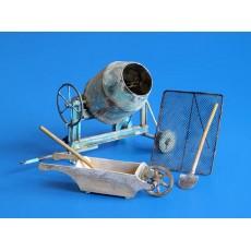 Kit hormigonera, carretillo y herramientas - Para Maquetar - Miniatura 1:35 - Plus Model 361