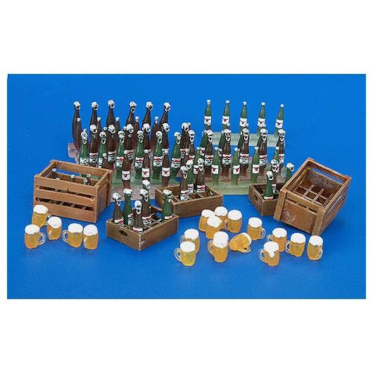Kit cajas de cerveza, botellas y vasos - Para Maquetar - Miniatura 1:35 - Plus Model 220