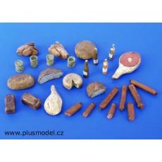 Kit comida para merienda y enseres - Para Maquetar - Miniatura 1:35 - Plus Model 075