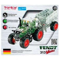Tractor Fendt 313 Vario con remolque - kit de construcción de metal 759 piezas - Escala 1:32 - Tronico 10021 embalaje