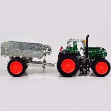 Tractor Fendt 313 Vario con remolque - kit de construcción de metal 759 piezas - Escala 1:32 - Tronico 10021 lateral