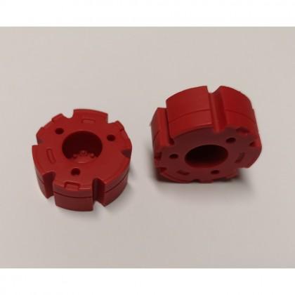 Par de contrapesos de resina color rojo. Diámetro exterior de 30 mm. Anchura 13,5 mm. - Miniaturas 1:32 - Artisan 04417