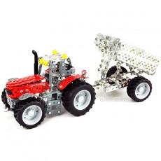 Tractor Massey Ferguson 5610 con remolque - kit de construcción de metal 700 piezas - Escala 1:32 - Tronico 10031