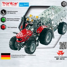 Tractor Massey Ferguson 5610 con remolque - kit de construcción de metal 700 piezas - Escala 1:32 - Tronico 10031 embalaje
