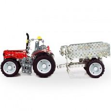 Tractor Massey Ferguson 5610 con remolque - kit de construcción de metal 700 piezas - Escala 1:32 - Tronico 10031 vista lateral