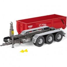 Remolque Krampe Hook Lift THL 30L contenedor 3 ejes Big Body 750 - Miniatura 1:32 - Wiking 077826 con el contenedor en el suelo