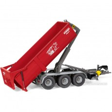 Remolque Krampe Hook Lift THL 30L contenedor 3 ejes Big Body 750 - Miniatura 1:32 - Wiking 077826 vasculando el contenedor