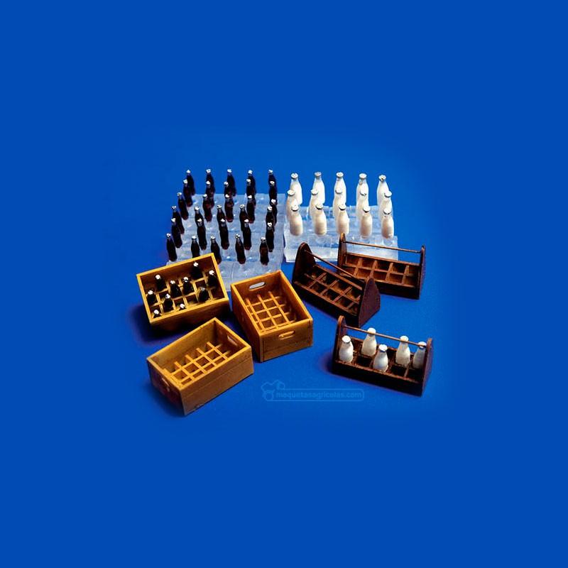 Kit cajas y botellas de leche y limonada - Para Maquetar - Miniatura 1:35 - Plus Model 221