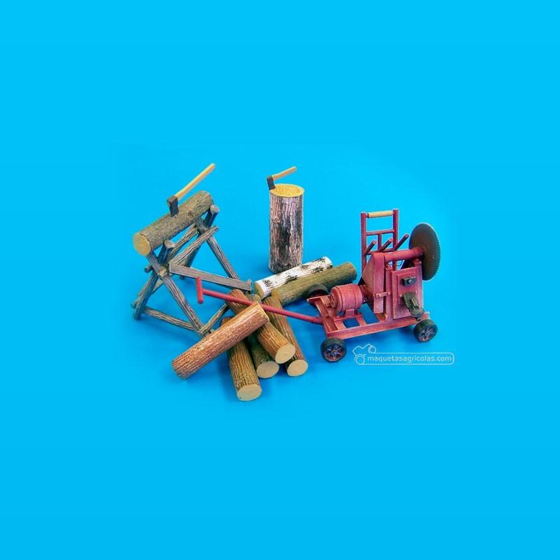 Kit sierra circular con troncos - Para Maquetar - Miniatura 1:35 - Plus Model 436