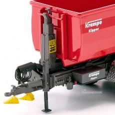 Remolque Krampe Hook Lift THL 30L contenedor 3 ejes Big Body 750 - Miniatura 1:32 - Wiking 077826 detalle frontal izquierdo