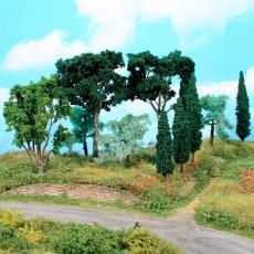 Conjunto de árboles mediterráneos, 11 árboles de 8 a 17 cm - Miniatura Heki 1774