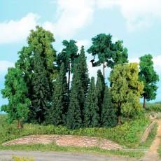 Bosque mixto de 20 Árboles y abetos de 7 a 18 cm - Escala H0 - Miniatura Heki 1957