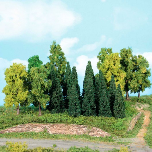 Bosque mixto de 22 Árboles y abetos de 5 a 12 cm - Escala N - Miniatura Heki 1958