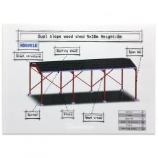 Cobertizo de madera de doble pendiente miniatura 1:32 - Minimaker HB60918 despiece