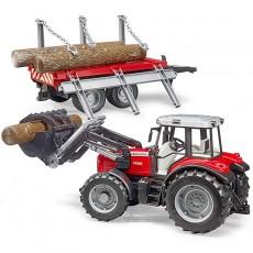 Tractor Massey Ferguson 7480 con pala frontal y remolque - Miniatura 1:16 - Bruder 02046
