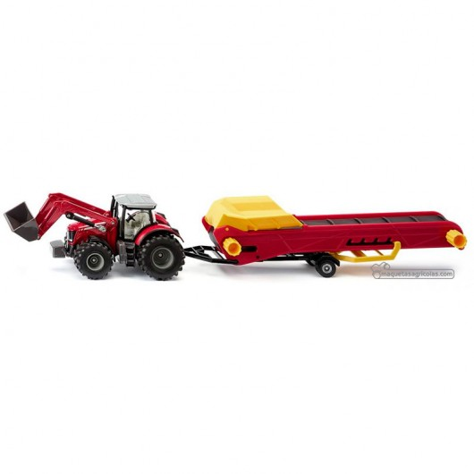Tractor Massey Ferguson con pala y cinta transportadora - Miniatura 1:50 - Siku 1996