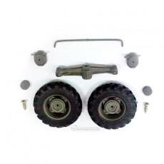 Eje puente delantero 4x4 + 2 ruedas de 38 mm - Miniaturas 1:32 para montar - Artisan 01312 despiece