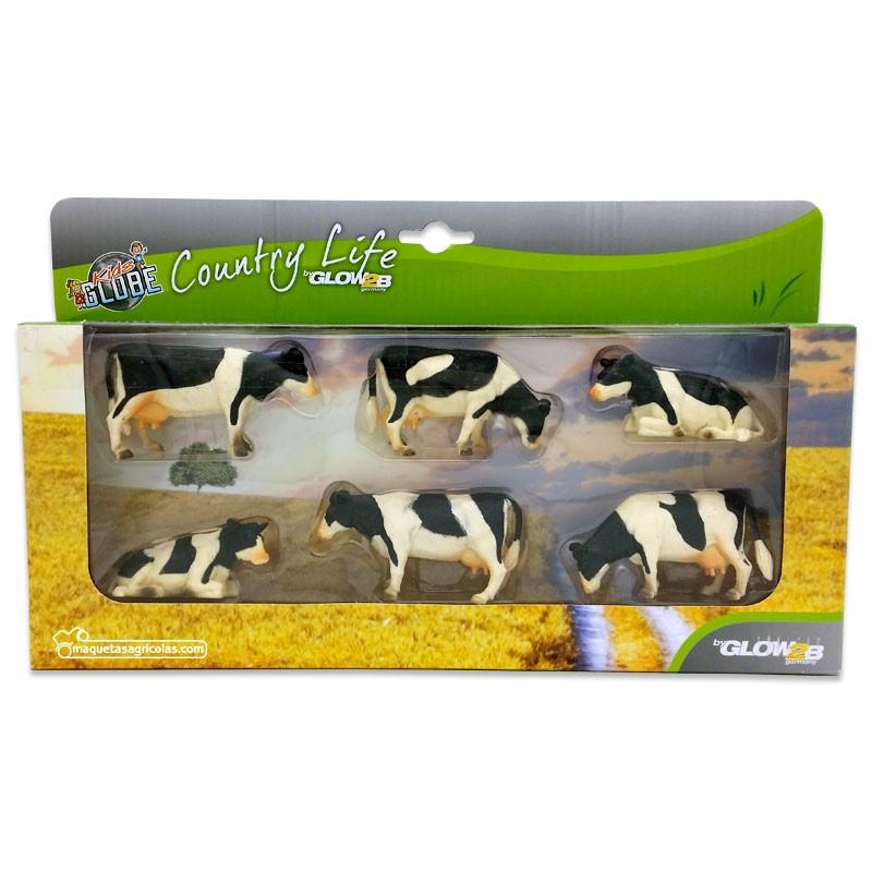 Caja 6 vacas negras tumbadas y de pie - Miniatura 1:32 - 1000587