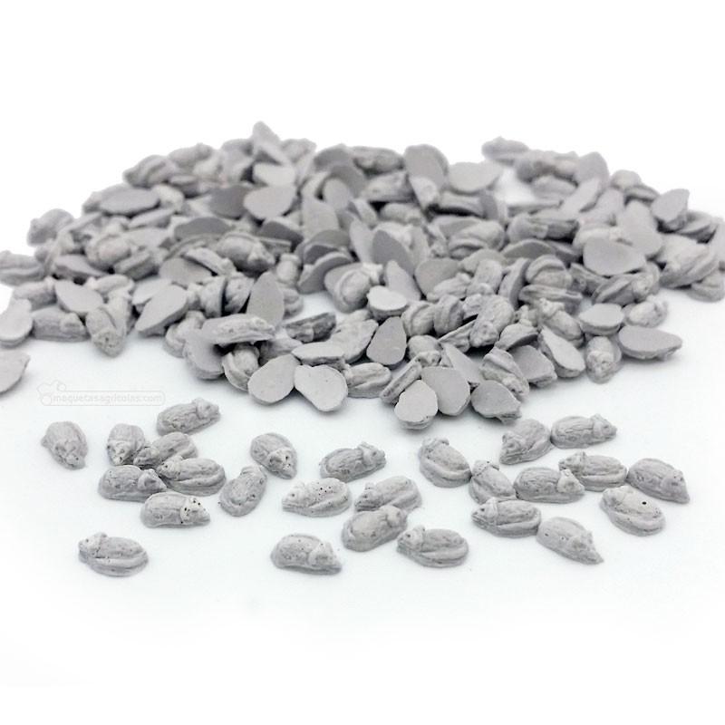 Ratones grises 150 piezas - Miniatura 1:32 / 1:35 - Juweela 23371