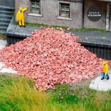 Ladrillo rojo distintos tonos (mezclado) 1000 piezas - miniatura 1:32 - Juweela 23034 presentación en diorama