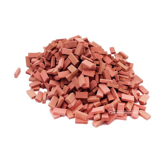 Ladrillo rojo distintos tonos (mezclado) 500 piezas - miniatura 1:32 - Juweela 23033