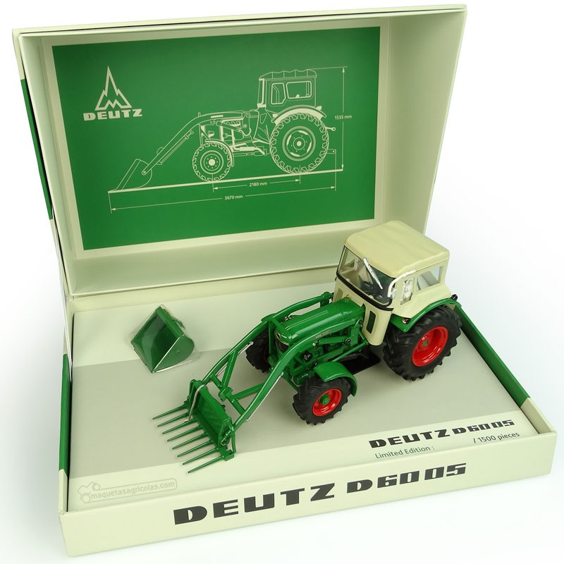 Cofre Tractor Deutz Fahr D6005 con pala y dos cazos - Edición  Limitada 1500 piezas -  Miniatura 1:32 - UH 6200