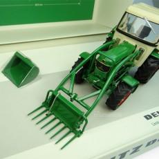 Cofre Tractor Deutz Fahr D6005 con pala y dos cazos - Edición  Limitada 1500 piezas -  Miniatura 1:32 - UH 6200 detalle