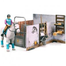 Establo con caballo y amazona  - Miniatura 1:16 - Bruder 62506