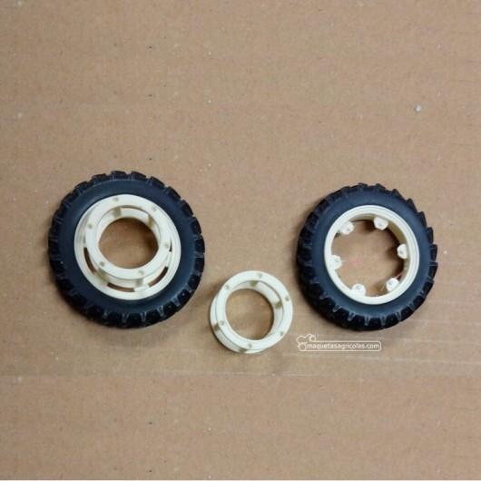 Jgo. ruedas gemelas delanteras estrechas blancas - Miniaturas 1:32 - Artisan 04254B