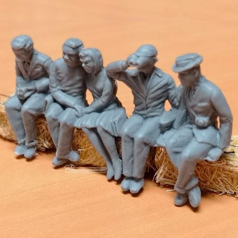 Grupo de 5 personas sentadas - para pintar - Miniatura 1:32 - Artisan 04872