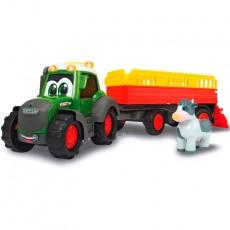 Tractor happy FENDT con remolque y vaca - juguete - Dickie Toys 3815004
