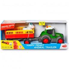 Tractor happy FENDT con remolque y vaca - juguete - Dickie Toys 3815004 caja