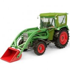 Tractor Fendt Farmer 5S con cabina Peko y cargador frontal BAAS - 4WD - Miniatura 1:32 - UH5310 perfil delantero