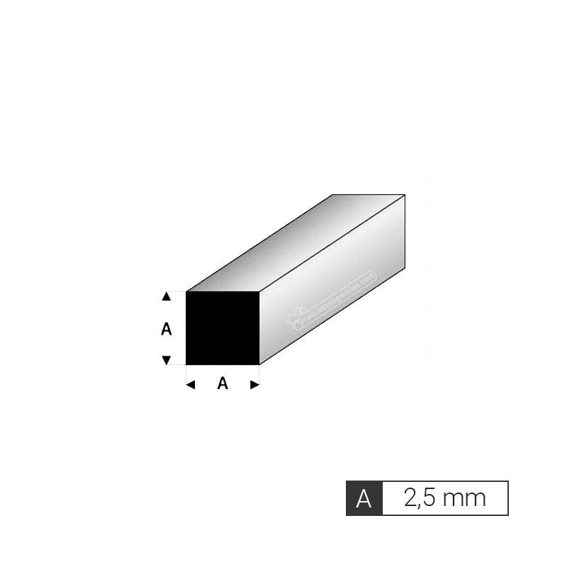 Perfil cuadrado de 2,5 mm de estireno (3 tiras de 33 cm) - Artisan 240754