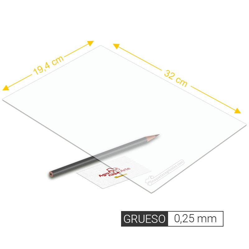 Plancha de PVC transparente de 0,25 mm de grosor tamaño 194 x 320 mm - Artisan 260202