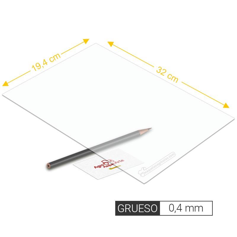 Plancha de PVC transparente de 0,4 mm de grosor tamaño 194 x 320 mm - Artisan 260203