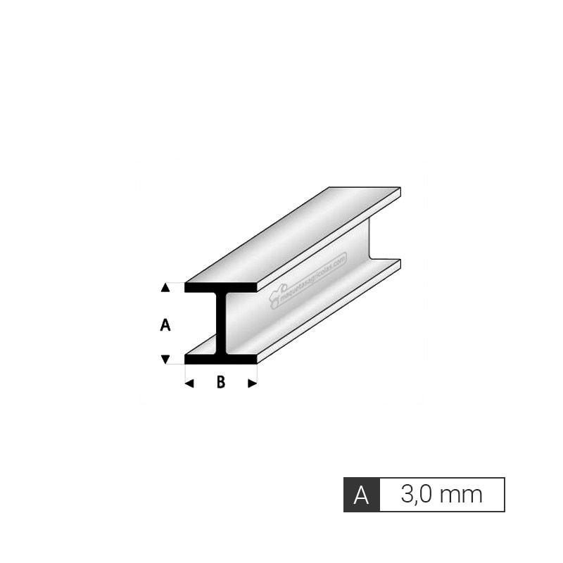 Perfil en H de A 3,0 mm de estireno (3 tiras de 33 cm) - Artisan 245054