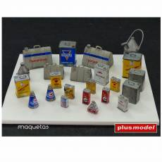 Kit varias latas de aceite - Para Maquetar - Miniatura 1:35 - Plus Model 106
