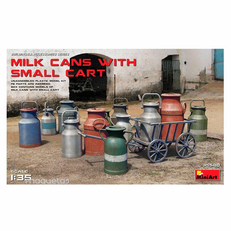 Kit conjunto de 12 cántaras de leche y carrito - Para Maquetar - Miniatura 1:35 - MiniArt 35580
