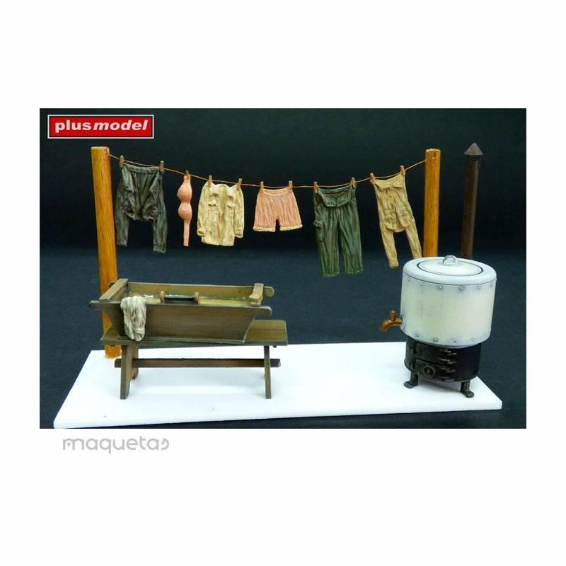 Kit lavandería y tendedero de campo - Para Maquetar - Miniatura 1:35 - Plus Model 153