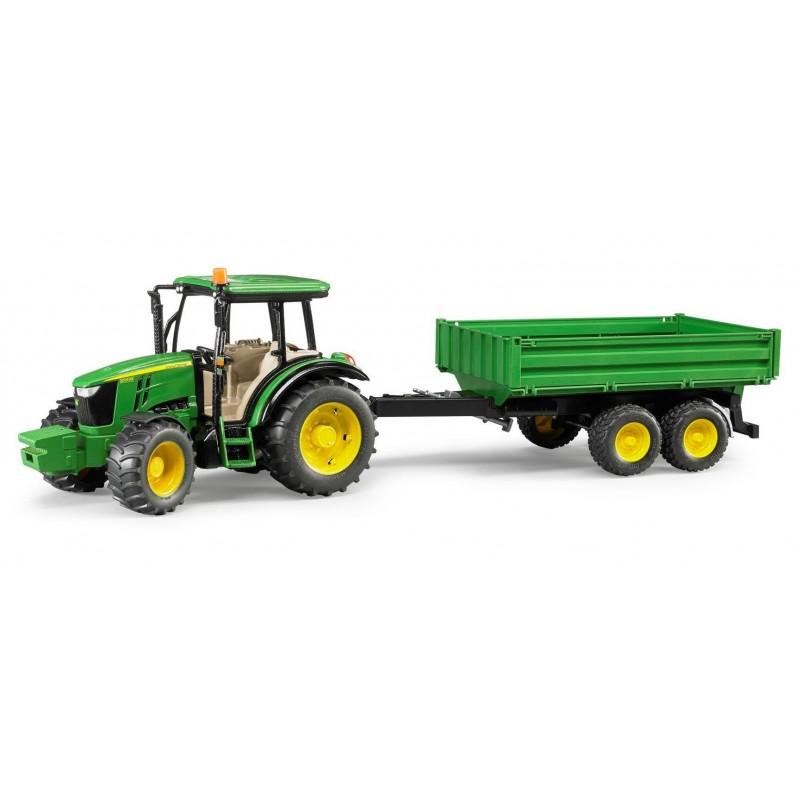 Tractor JOHN DEERE 5115M con pala y remolque - Miniatura 1:16 - Bruder 02108