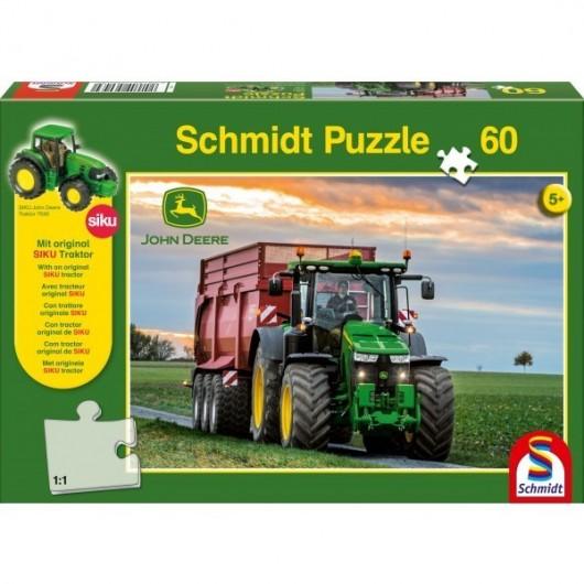 PUZZLE 60 PZAS Tractor JOHN DEERE 8370 con bañera - REGALO tractor JD 7530 de Siku - Schmidt 56043