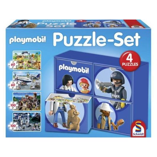 SET 4  PUZZLES en cajitas Playmobil 2x60 Pzas y 2x100 Pzas - Schmidt 56500
