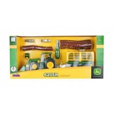 Tractor JOHN DEERE con remolque para leña y heno - Juguete Desmontable - KLEIN 3906