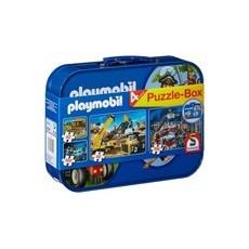 4 PUZZLES, 2x60 y 2x100 PZAS caja metal TRACTORES PLAYMOBIL - 4+  - Schmidt 55599