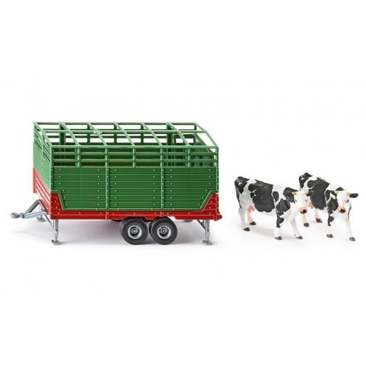 Remolque ganadero con 2 vacas - Miniatura 1:32 - Siku 2875