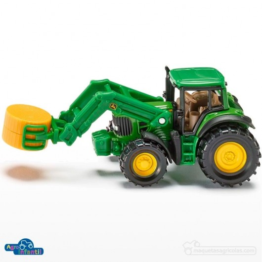 Tractor John Deere con pala y bala de paja BL. - Miniatura - Siku 1379