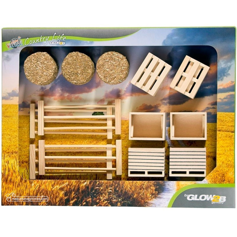 Conjunto 17 piezas de cercas, palets, cajas y pacas - Miniaturas 1:32 - Glow2B 1000579