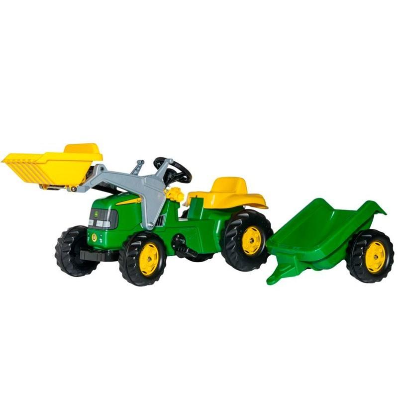 TRACTOR A PEDAL JOHN DEERE CON PALA Y REMOLQUE - Juguete - Rolly Toys 023110